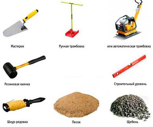 Инструменты для установки бордюрного камня