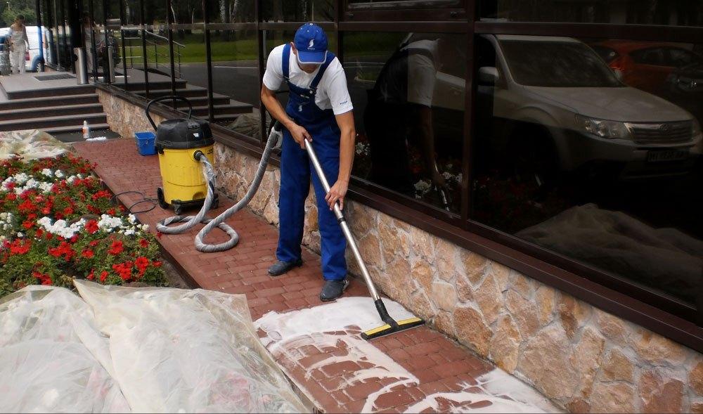 Подготовка тротуарной плитки к покраске