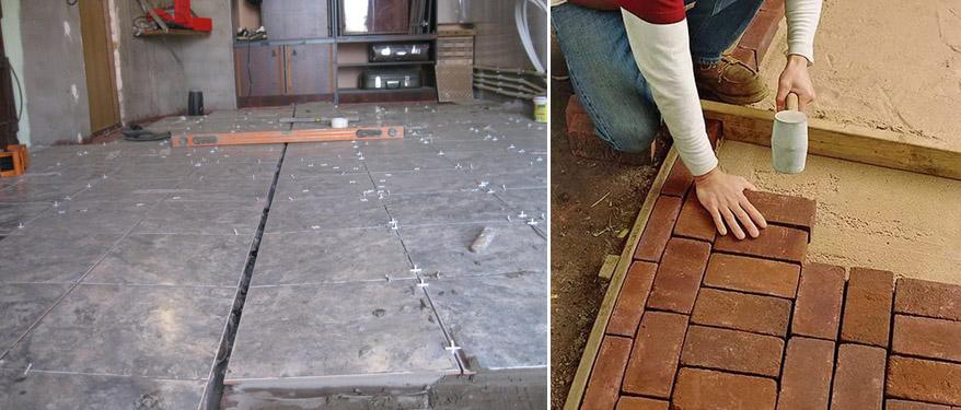 выравнивание плитки при укладке в гараже